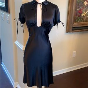 Stunning black silk dress by Miguelina